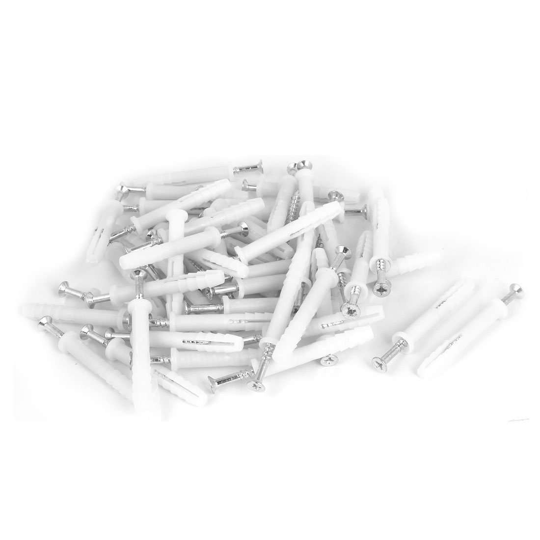 uxcell 8mm x 60mm Plastic Expansion Anchor Wall Plugs White 50pcs w Screws a16080100ux0169