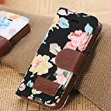 Topforcity Flower Pattern Full Body Case with Card Slot and Wallet for iPhone 5/5S (Black)