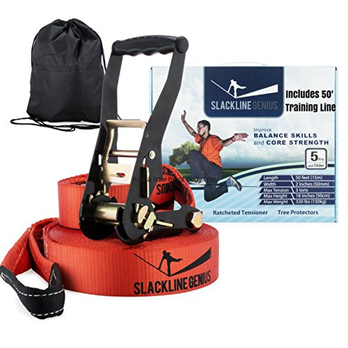 "Slackline Kit With Training Line 50ft x 2"" Slack Line/Ratchet Tensioner/Tree Protectors 