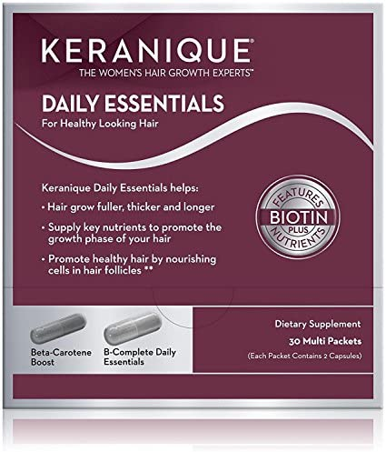 Keranique Daily Essential Supplements for Hair Growth, Healthy and Thick Hair Contains Vitamin B Complex For Hair Loss, 60 Capsules