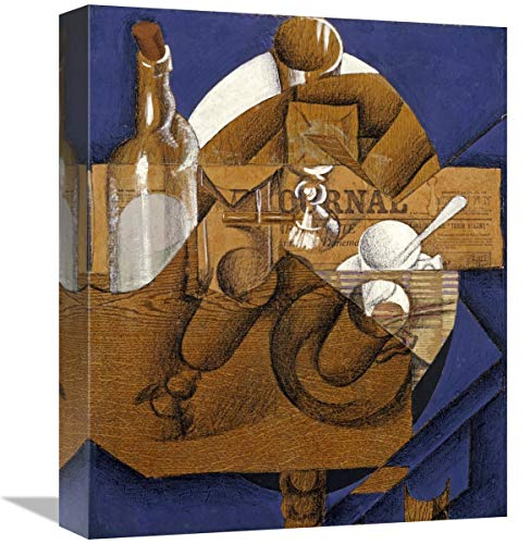 Verres Et Bouteille Le Journal - Global Gallery Trasse, Verres Et Bouteille (Le Journal)-Canvas Art-13.201