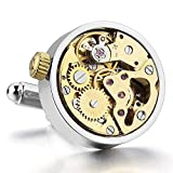 MensINBLUE-Rhodium-Plated-Cufflinks-Silver-Gold-Functioning-Works-Watch-Movements-in-Working-Condition-Steampunk-Vintage