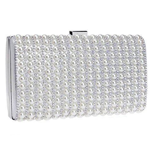 BAILIANG Wristlet Sacs Femmes Silver Dîner Des Diamant Embrayage Simple Perle Et 4rH4Yqw