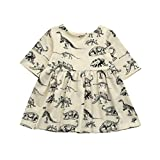 Saihui for 0-18 Months Baby, Baby Girls Cartoon Dinosaur Print Sun Dresses Clothes Outfits (A, 3-6 Months Baby)