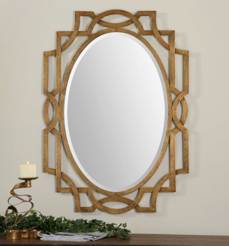 Uttermost Margutta Gold Oval Mirror with Hand Forged Metal Finished In A Heavily Antiqued Gold Leaf