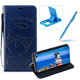 Strap Leather Case for Galaxy S10 Lite,Dark Blue Wallet Flip Case for Galaxy S10 Lite,Herzzer Elegant Classic Solid Color Magnetic Cute Fish Cat Printed Stand PU Leather Case with Soft TPU
