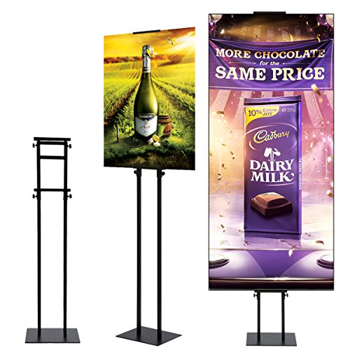 (HUAZI Poster Stand Display Pedestal Sign Holder - Heavy Duty Floor Sign Stand with Base Adjustable Height Up to 75inches for Board & Foam,Black)