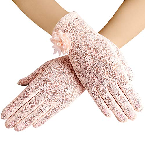 BABEYOND Floral Lace Gloves for Wedding Opera Party 1920s Flapper Lace Gloves Stretchy Adult Size (Pink)