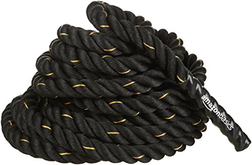 AmazonBasics 1.5 Inch Heavy Exercise Training Workout Battle Rope - 3441.51.5 inch, Black