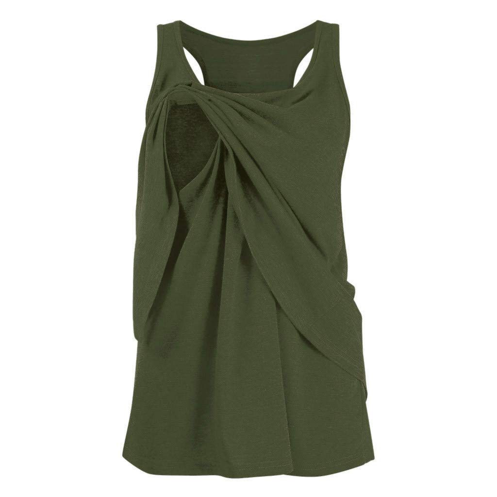 Veodhekai Women Nursing Top Wrap Double Layer Sleeveless Solid Maternity Breastfeeding Top T-Shirt Blouse Army Green