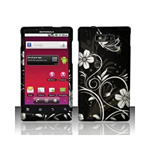 Black White Flower Hard Cover Case for Motorola Triumph WX435