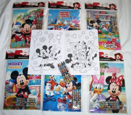 (12 Sets of Disney Mickey Mouse & Friends Coloring Books and Crayon Set Children Party Favors Bag)