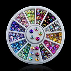 3D Nail Art Tips Crystal Glitter Rhinestone DIY Decoration Wheel 12 Colors by Team-Management