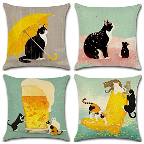 Decorative Animal Prints Square Linen Throw Pillow Cover, Burlap Pillow Case Cushion Cover for Living Room Couch, Set of 4 - Cute Cats Design 18 x 18 Inches