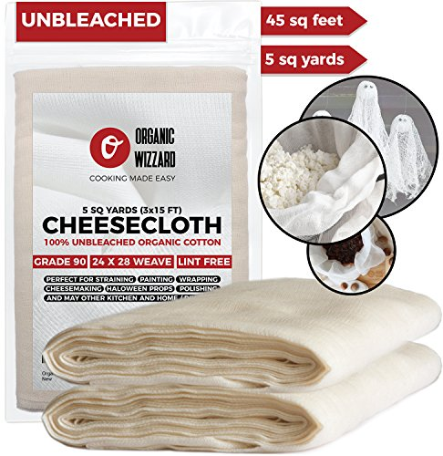 Cheesecloth - Organic Unbleached Cotton Fabric - Grade 90 Ultra Fine Mesh. 45 Sq Feet (5 yards) of 100% Natural, Washable and Reusable Food Filter/Strainer -