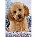 Winter Berries Garden Size Flag Red Labradoodle