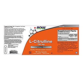 NOW Foods L-Citrulline 750 mg, 180 Capsules 2 Pack