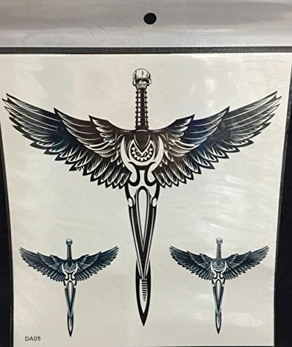 GGSELL Large Angel wings and skull cross temporary tattoos for men and - Wing Tattoo Skull