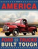 Ford Trucks Built Tough Retro Vintage Tin Sign 13 x 16in