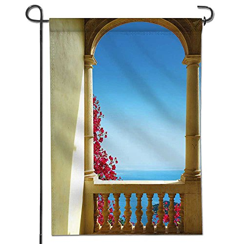 Cheap  VROSELV Outdoor Double Sided Garden Flag,Patio Decor Ancient Balcony with View to..