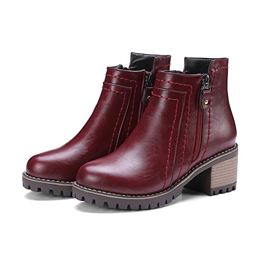 Zip Leather Urethane Closed Heels Boots A Ankle Boots Weather Toe Cuff Rubber Kitten DKU01832 amp;N Claret Closed Waterproof All Womens Toe Smooth 4ZXqS