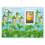 Flora stamps / Mongolia Flower Orchid and Butterfly Souvenir Sheet perforated stamp / 1997 / MNH