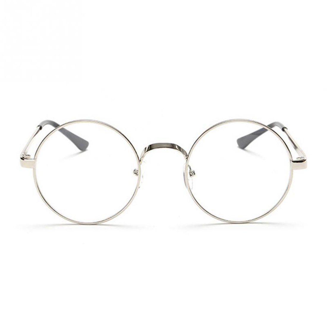 ecbf6e1ef9d34 Amazon.com  1PCS Fashion Retro Round Circle Metal Frame Eyeglasses Clear  Lens Eye Glasses Unisex Silver  Clothing