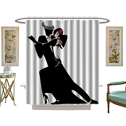 Shower Curtains Fabric and Woman Partners Romantic Dance