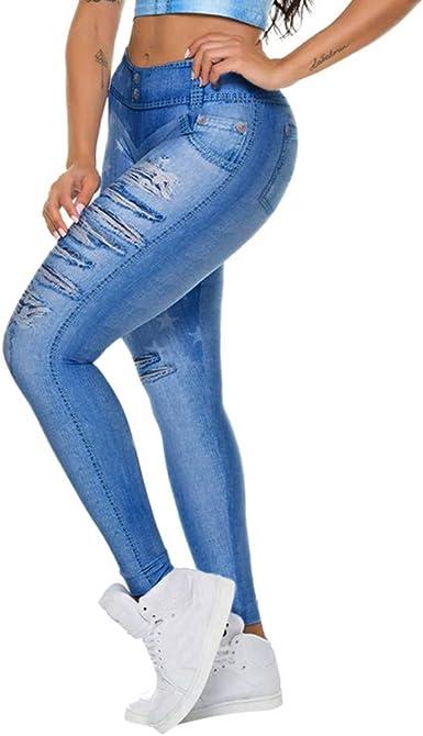 Wiltson Las Mujeres Delgadas De Imitacion Falso Falso Rasgado Jeans Leggings Estrellas Moda Fitness Yoga Pantalones Fitness Las Mujeres Arriba Gimnasio Medias Mallas Mujer Deportivas Leggins Amazon Es Ropa Y Accesorios