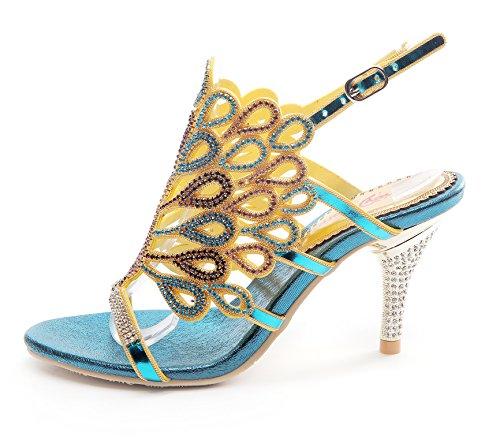 Picture of Honeystore Women's Peacock Shaped Pattern Handmade Rhinestone Sandals