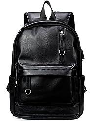 KISSUN PU Leather Backpack For Men Women Vintage School College Bookbag USB Charging Port 14 inch Laptop Computer...
