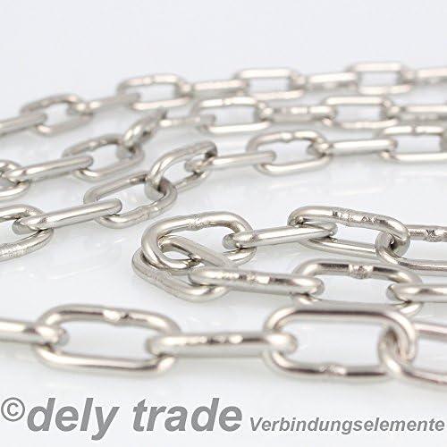 inoxidable de eslabones Cadena de acero inoxidable V4A NietFullThings DIN 5685,/DIN 766