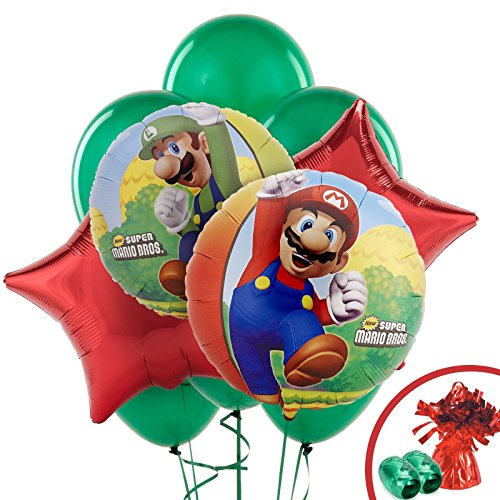 Super Mario Bros Party Supplies - Balloon Bouquet (Mario Star Pinata)