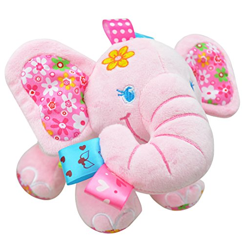 [BabyPrice Elephant Musical Doll Developmental Toy Cotton Material, Pink] (Halloween Costumes For 16 Month Old Girl)