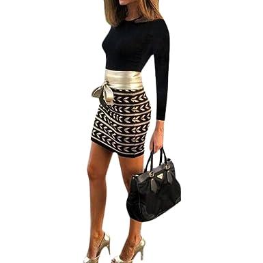 iBaste Damen Bodycon Kleid Langarm Herbst Kleid für damen elegant Minikleid  Partykleid Knielang Cocktailkleid  Amazon.de  Bekleidung 8574f651bf