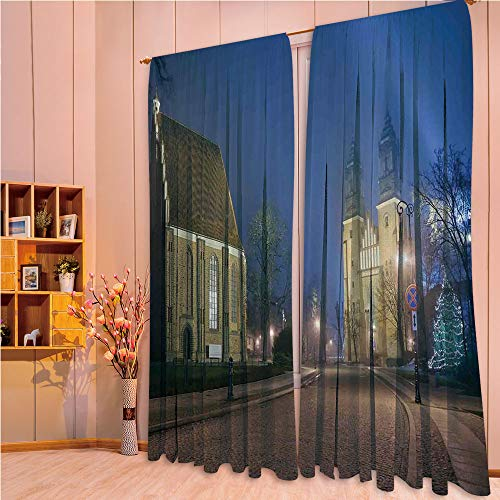 (ZHICASSIESOPHIER Finel Kids Curtains for Living Room Bedroom Window Curtains Baby Room Lovely Children Curtains Drapes,Age Churches Cathedral Island with Night Lights 84Wx63L Inch)