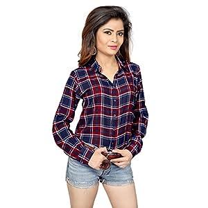 Trendif Women's Poly Modal Viscose Checkered Shirt