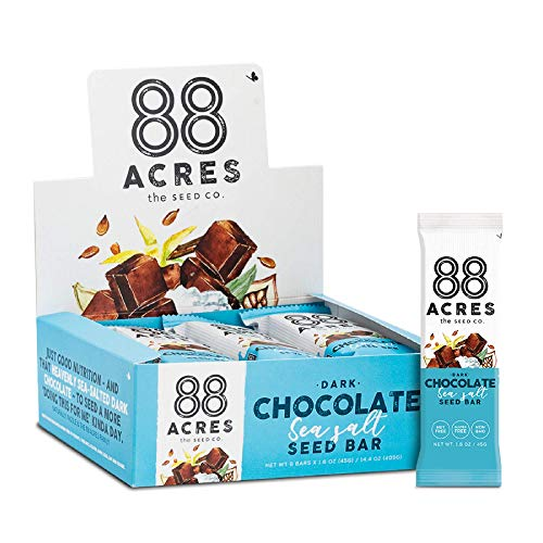 88 Acres Dark Chocolate Sea Salt Seed Granola Bar, Gluten-free, Nut-free, Non-GMO, Vegan, School Safe (1.6 Oz, 12 pack) (Bars Sunbutter Crunch)