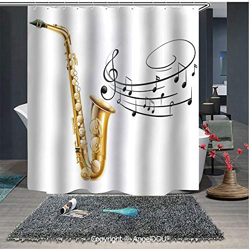 AngelDOU Jazz Music Decor Fashion Styles Printed Shower Curtain Illustration of Fancy Old Saxophone with Template Solo Vibes Art Print Decor for Home Hotel Club Bathroom Decoration