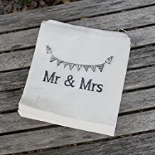 White Paper Bags 'Mr And Mrs' Bag x 90 - Wedding Favour / Candy Sweet Bar / Favours