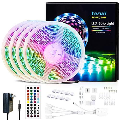 65.6FT / 20M LED Light Strips Music Sync RGB LED Strips Changing LED Strip Light with 44-Key IR Remote Bluetooth…