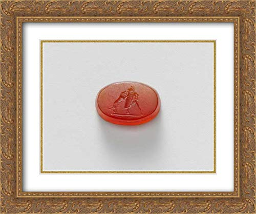 Carnelian Museum - Roman Culture - 24x20 Gold Ornate Frame and Double Matted Museum Art Print - Carnelian Intaglio of a Gladiator Fighting a Lion