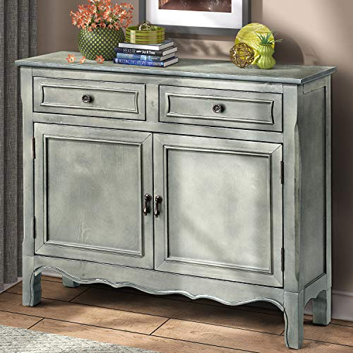 Wood Accent Cabinet with Drawers and Doors Vintage Accent Storage Chest for Entryway, Living Room (Antique Grey)