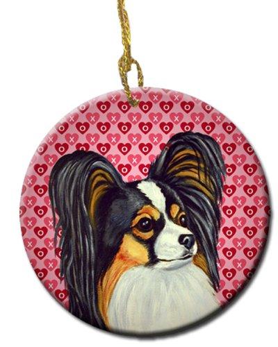 Carolines Treasures LH9165CO1 Papillon Valentines Love and Hearts Ceramic Ornament Multicolor 3 in