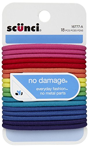 No Damage Elastic Hair Bands, Multi-Colored (Ponytail Bands)