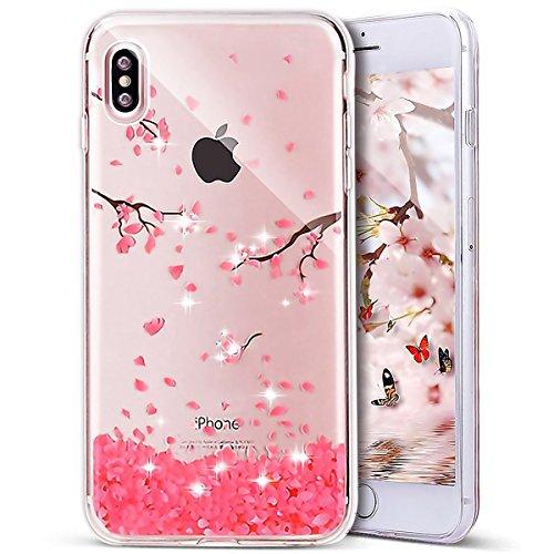 Custodia iPhone X Cover iPhone 10, Cover Custodia in TPU Silicone per iPhone X, Surakey Fashion Elegante Ciliegio Fiore Rosa iPhone X Cover Trasparente con Strass Bling Glitter Premium Ultra Sottile C