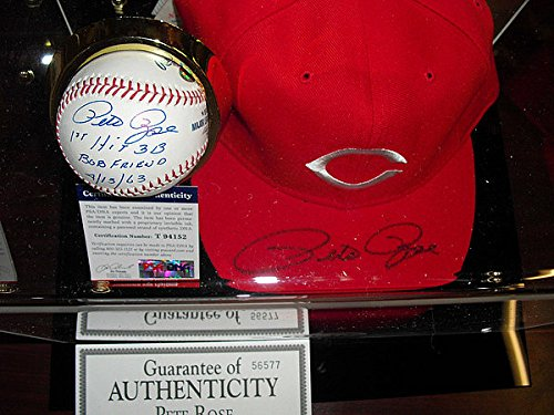 Cases Display Hat Mlb (Pete Rose Autographed Signature Stat Baseball Auto Cap Wcustom Display Case - PSA/DNA Certified)