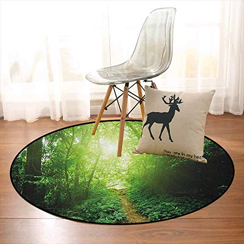 Landscape Bedroom Carpet A Way in The Jungle of Malaysia Rainforest Fresh Grass Trees Rural Morning Scenery for Various Areas D47.2 Inch Green