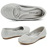 CIOR Girls Ballet Flats Shoes Slip On Ballerina Bowknot Jane Mary Wedding for Party Princess Dress from Merence(Toddler/Little Kids/Big Kids),VGZA1,Shine-Silver Glitter,34