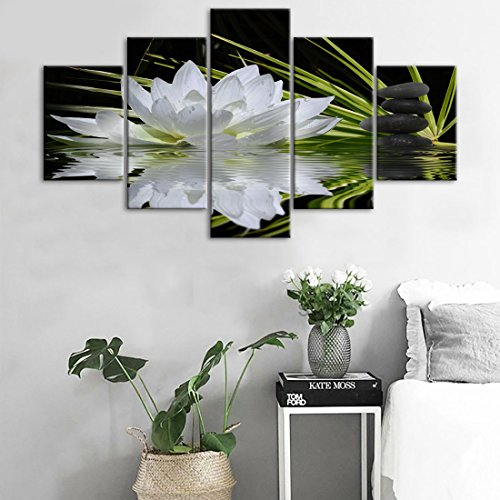 Yatsen Bridge 5 Panels White Orchid andLotus Poster Canvas Wall Art Prints Painting Modern Printed Black Zen Stone Picture Framed Giclee Artwork Contemporary Home Decor(60''W x 32''H)